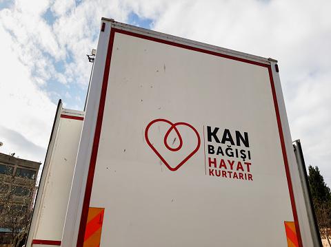 istock A picture blood donation bus of ''Kan Bagisi Hayat Kurtarir'', Kizilay bus 1203976443
