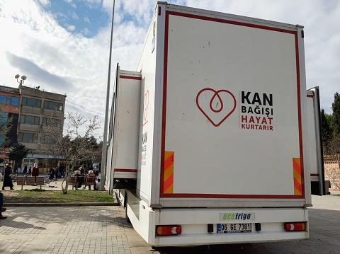 istock A picture blood donation bus of ''Kan Bagisi Hayat Kurtarir'', Kizilay bus 1203976446