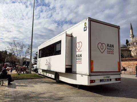 istock A picture blood donation bus of ''Kan Bagisi Hayat Kurtarir'', Kizilay bus 1203976467