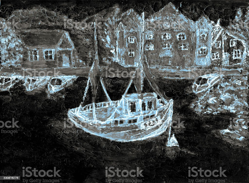 picture boat in the sea and houses on the shore stock photo