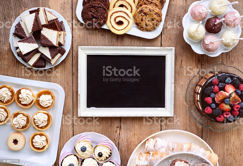Picture Frame And Cake Cookies Tarts Cupcakes Copy Space