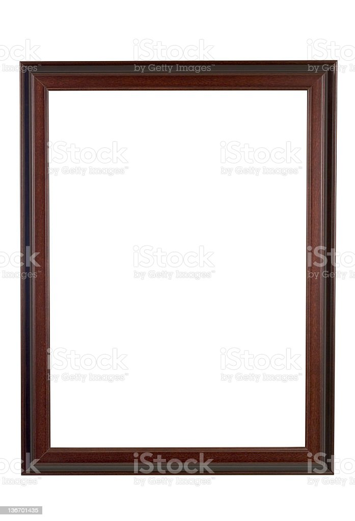 Picture Frame Brown and Red Wood, Narrow, White Isolated stock photo