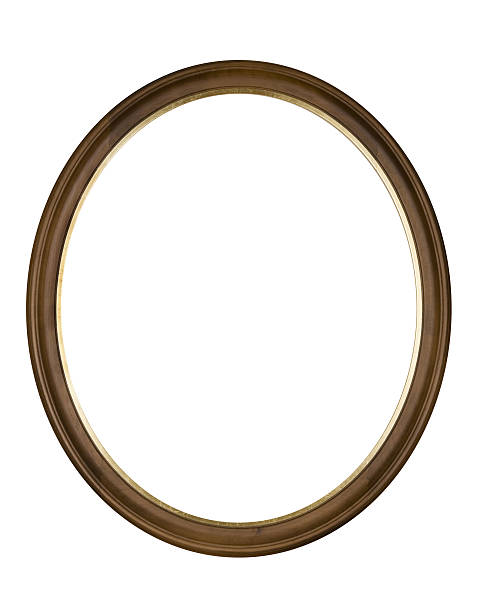 picture frame brown oval circle, white isolated studio shot - ellipse stock photos and pictures