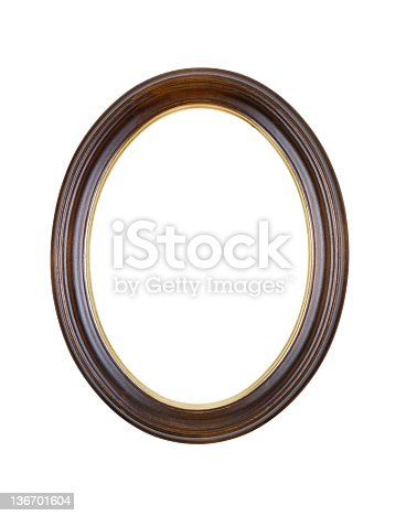 Picture frame in brown wood oval, circle with gold border on inside, design element isolated on white.