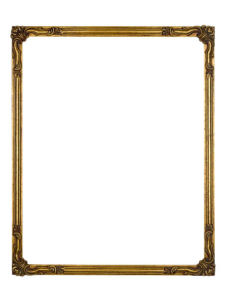 Picture Frame Gold Art Deco, White Isolated Design Element stock photo