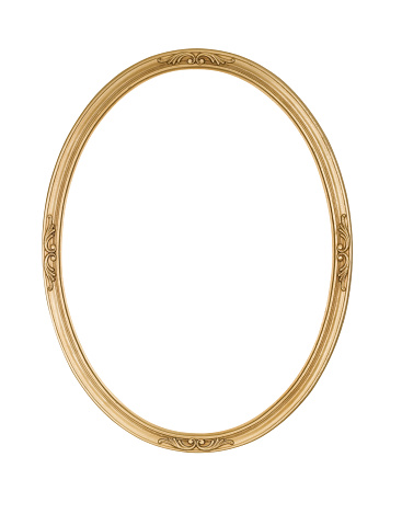 Picture frame gold oval, round and narrow, slightly rough surface with some antique wood grain and grunge showing, isolated on white.