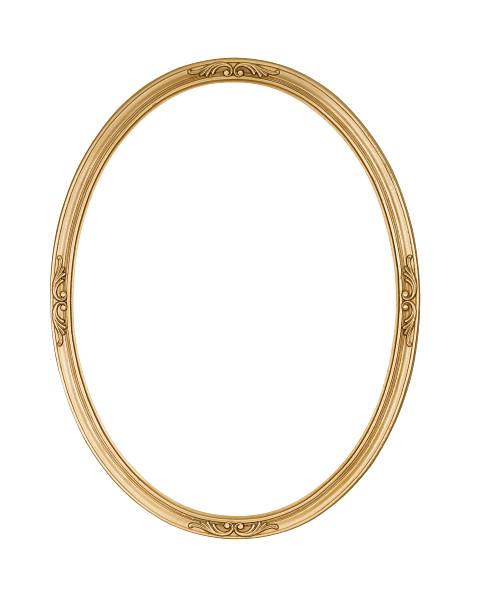 額縁ゴールドの楕円形の円形、細身のホワイト絶縁スタジオ撮影 ストックフォト
