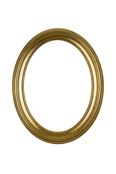 picture frame gold oval round, white isolated studio shot - ellipse stock photos and pictures