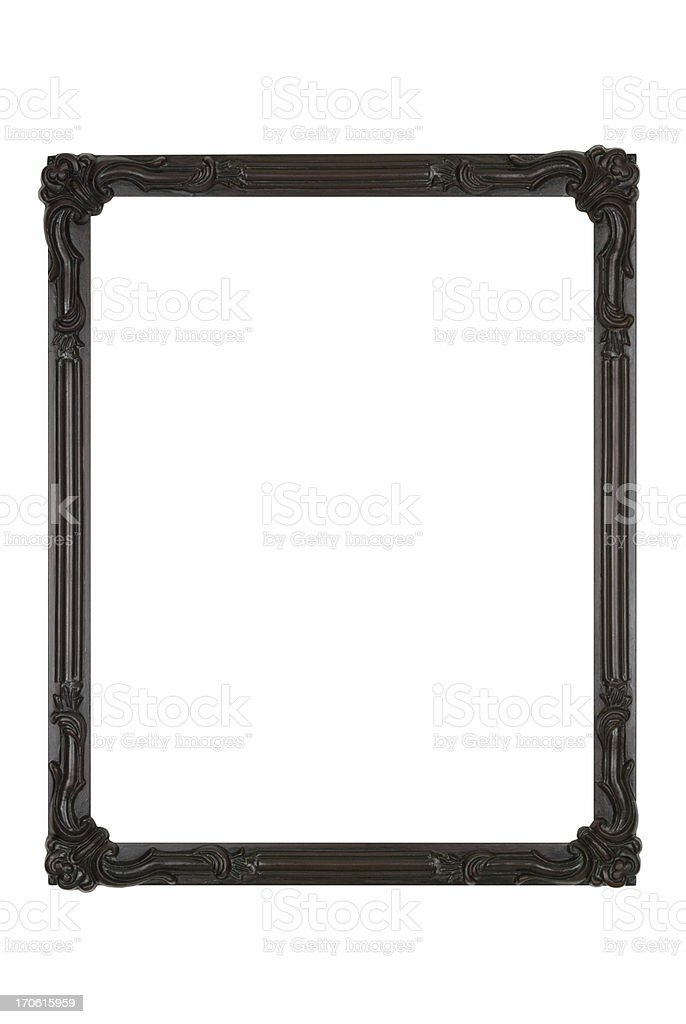 Picture Frame in Black Art Deco, White Isolated Design Element stock photo