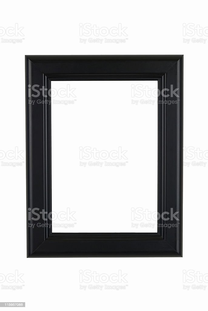 Picture Frame in Black, Classic Modern Style, White Isolated Background stock photo