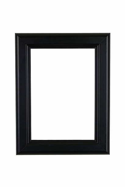 Picture Frame in Black, Classic Modern Style, White Isolated Background Picture frame in black modern classic style with raised edges, faint delineating highlights, white isolated background. black border stock pictures, royalty-free photos & images