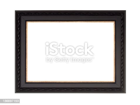 istock Picture Frame in Black, Modern Contemprary Style, White Isolated 136697153