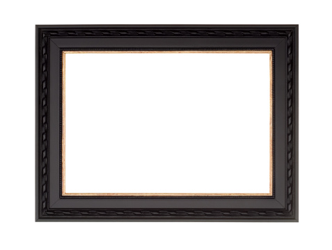 Picture frame in black with gold inner and fancy edge, new modern contemporary style, isolated on white.