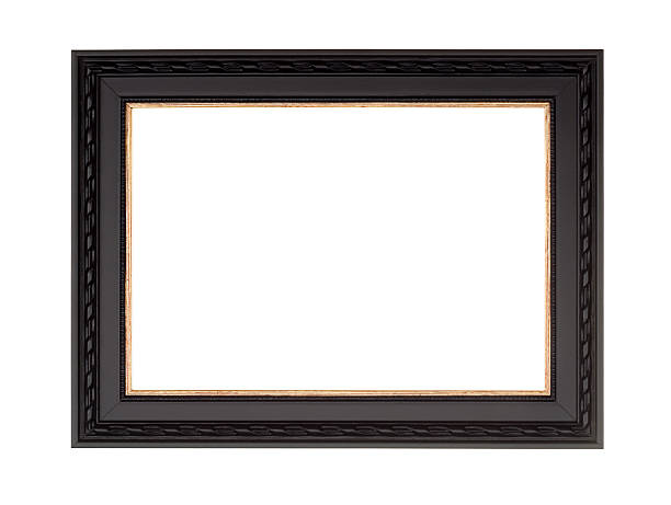 Picture Frame in Black, Modern Contemprary Style, White Isolated Picture frame in black with gold inner and fancy edge, new modern contemporary style, isolated on white. black border stock pictures, royalty-free photos & images