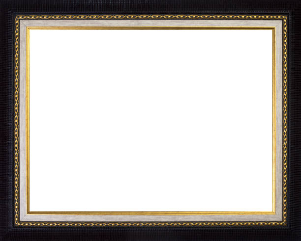 Picture Frame in Black, Modern with Gold Edge Picture Frame in Black, Modern with Gold Edge black border stock pictures, royalty-free photos & images