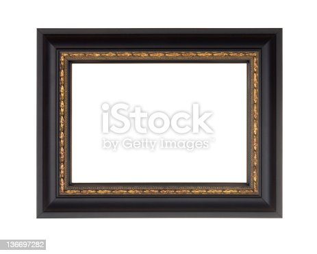 istock Picture Frame in Black, Modern with Gold Edge, White Isolated 136697282