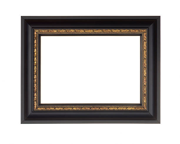 Picture Frame in Black, Modern with Gold Edge, White Isolated Picture frame in smooth black with gold inner, modern contenpprary style, isolated on white. black border stock pictures, royalty-free photos & images