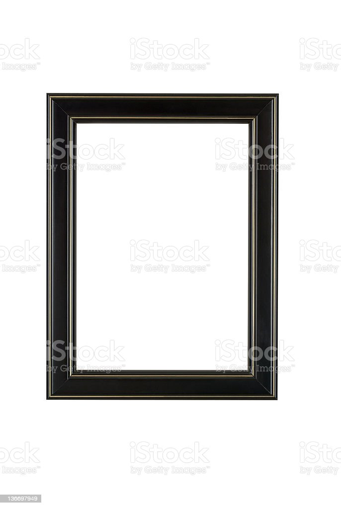 Picture Frame in Black, Plain Modern Style, White Isolated royalty-free stock photo