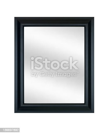 Picture frame in smooth black satin finish with digital mirror insert, isolated on white.