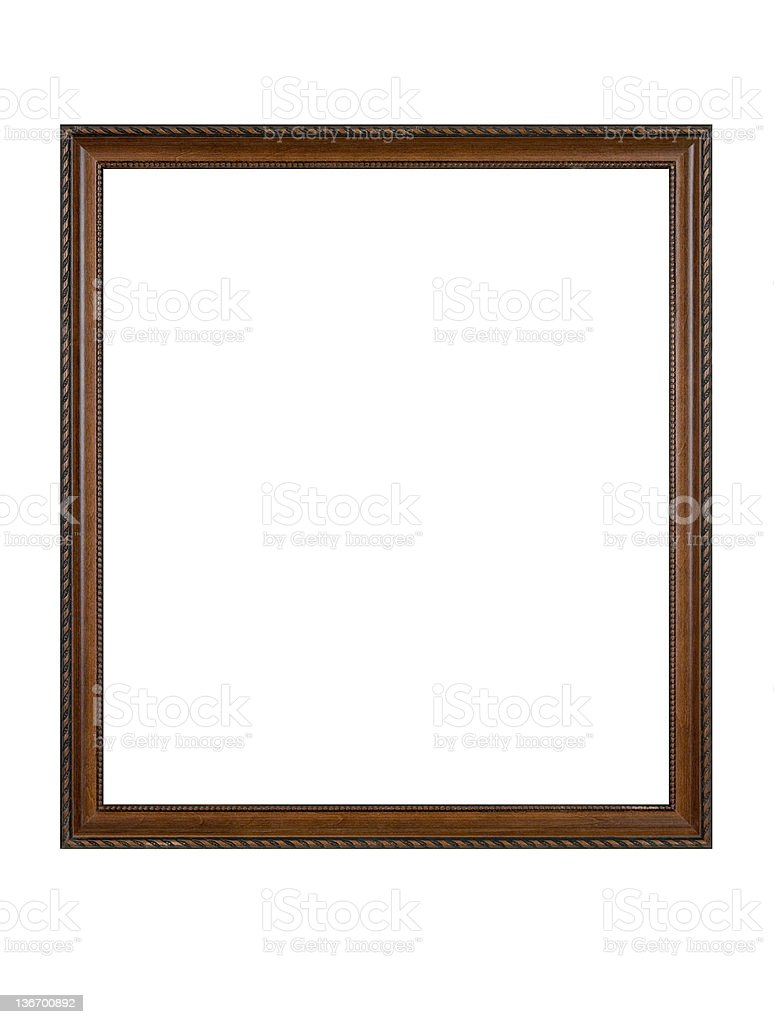 Picture Frame in Brown Wood, White Isolated royalty-free stock photo
