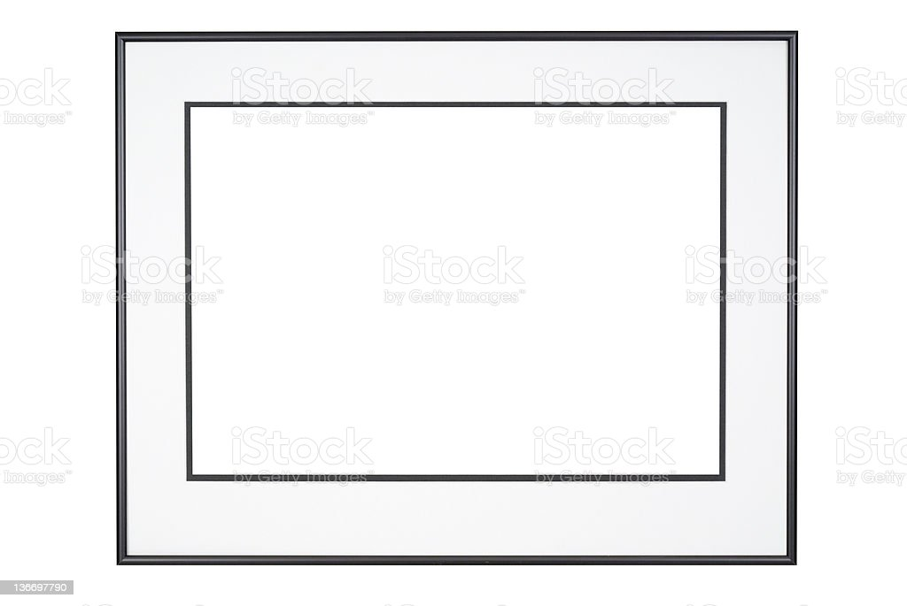 Picture Frame in Classic Black and White, Isolated stock photo