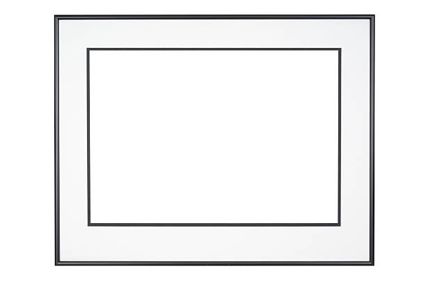 Picture Frame in Classic Black and White, Isolated Picture frame in classic black with off white mat, complete design element, white isolated. black border stock pictures, royalty-free photos & images