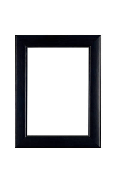 Picture Frame in Classic Black, White Isolated Picture frame in classic black, plain smooth satin finish, white isolated.  black border stock pictures, royalty-free photos & images