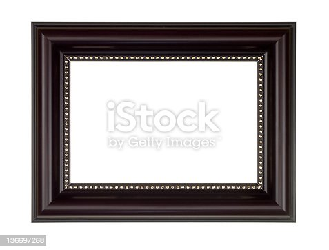 istock Picture Frame in Dark Brown, White Isolated 136697268