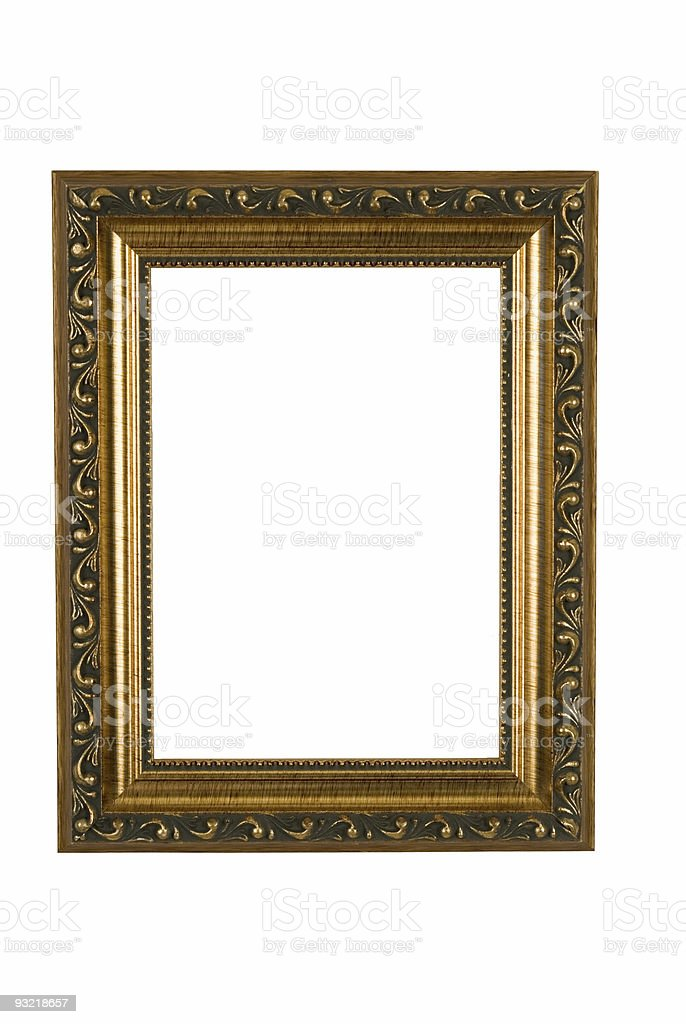 Picture Frame in Fancy Gold, White Isolated royalty-free stock photo
