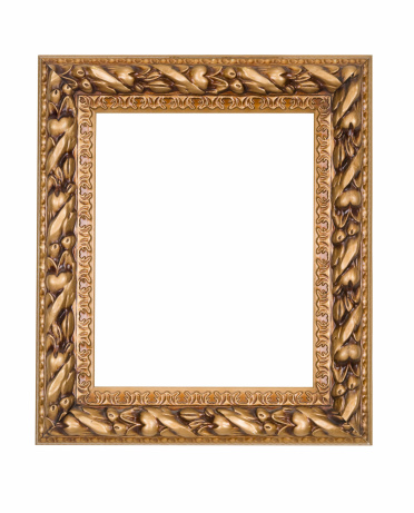 Picture Frame in Gold Art Deco, White Isolated Studio Shot