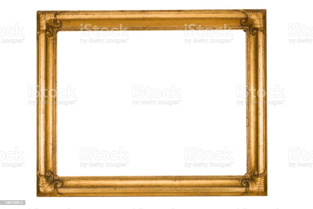 Picture Frame in Gold Grunge, Worn Weathered, White Isolated royalty-free stock photo