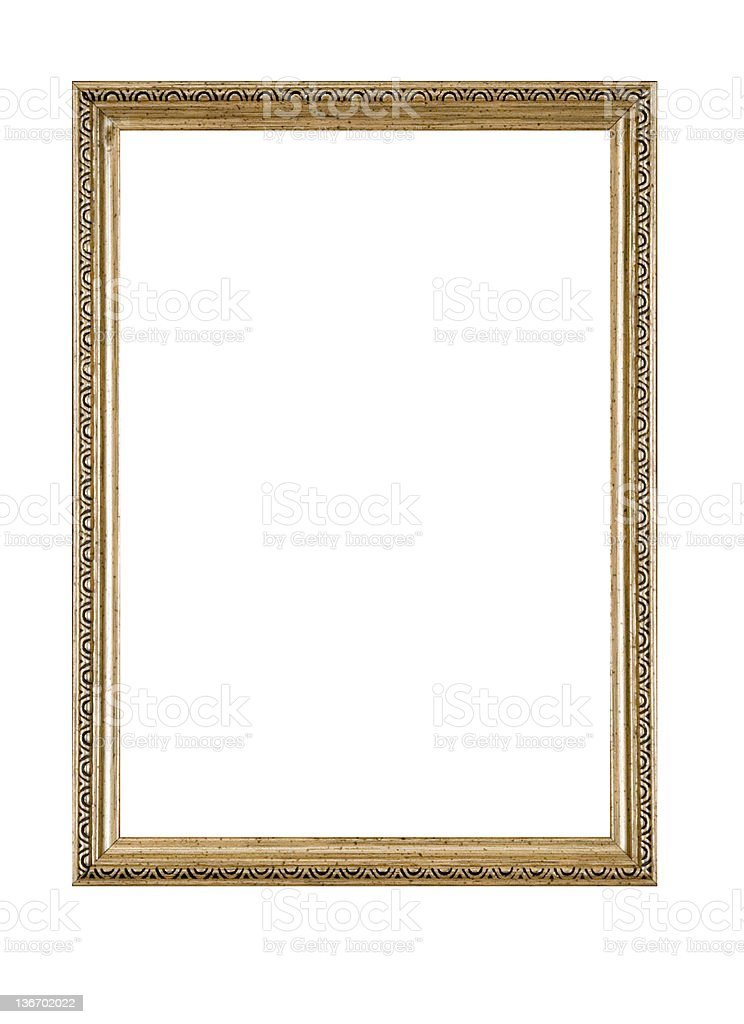 Picture Frame in Gold, Narrow Antique, White Isolated stock photo