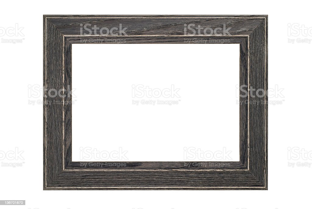 Picture Frame in Gray Rustic Wood, White Isolated Studio Shot stock photo