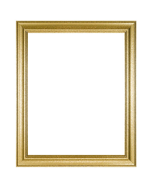 Picture Frame in Mottled Gold, White Isolated stock photo