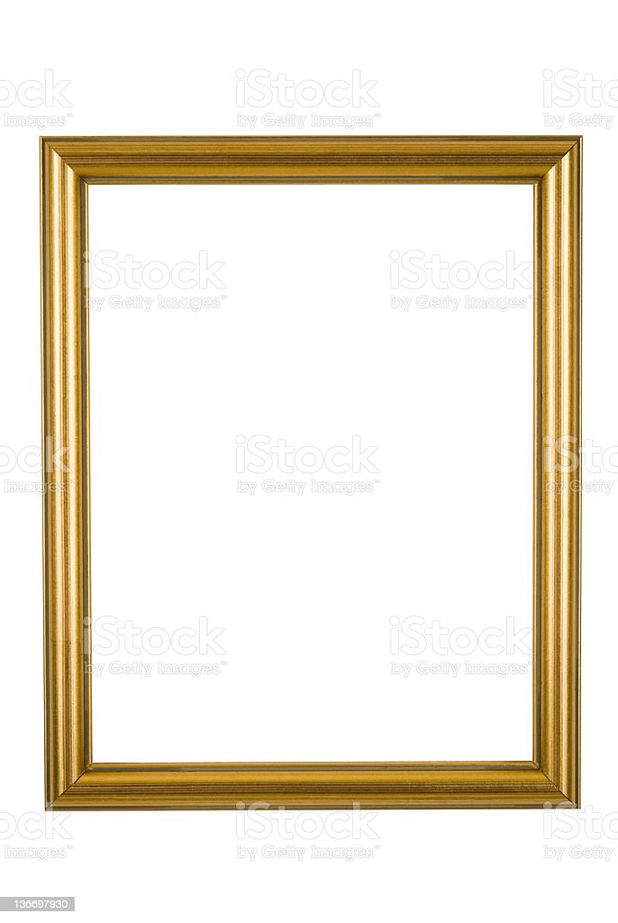 Picture Frame in Narrow Shiny Gold, Isolated stock photo