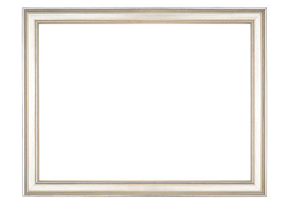Picture Frame in Narrow Shiny Silver, Isolated on White Background stock photo