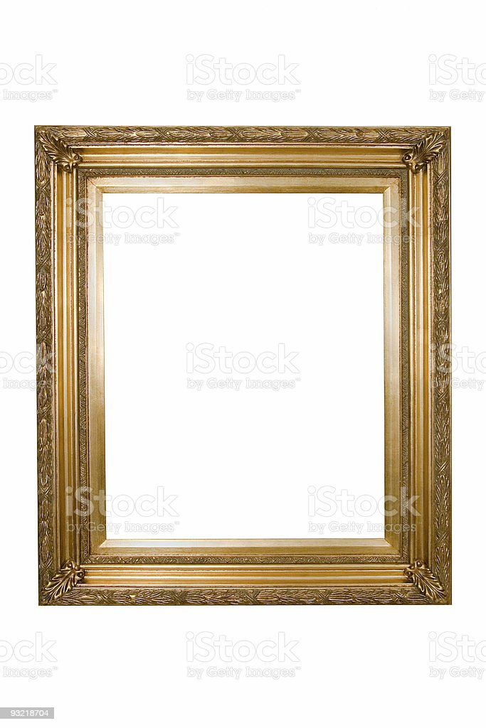 Picture Frame in Ornate Gold , White Isolated royalty-free stock photo