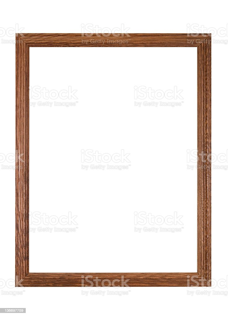Picture Frame in Plain Brown Wood, Homemade, White Isolated stock photo