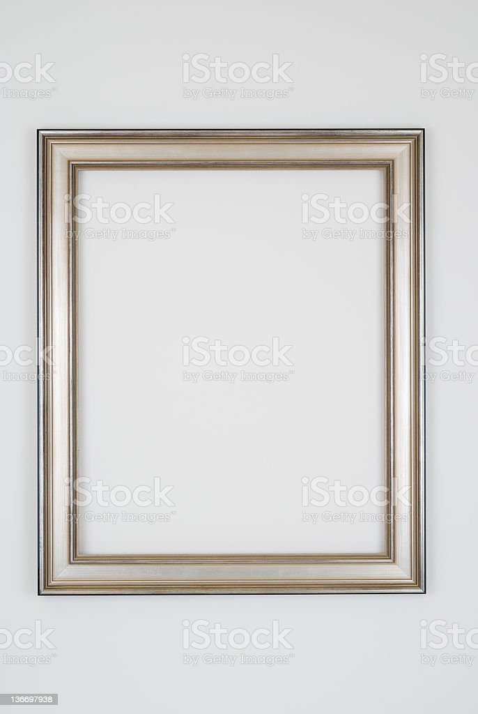 Picture Frame in Plain Silver, Studio shot on White royalty-free stock photo
