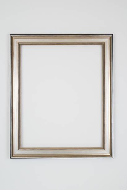 Picture Frame in Plain Silver, Studio shot on White stock photo