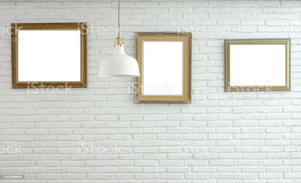 picture frame in room with ceiling lamp stock photo