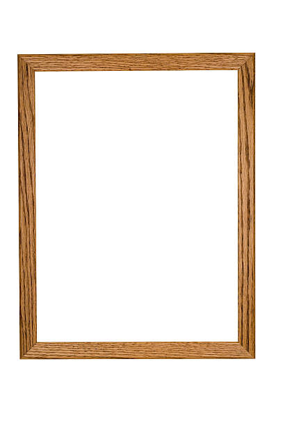 Picture Frame in Rustic Oak, Hand Made, White Isolated stock photo