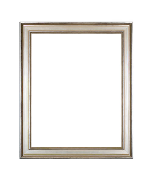Picture Frame in Silver, Antique Style, White Isolated Studio Shot stock photo
