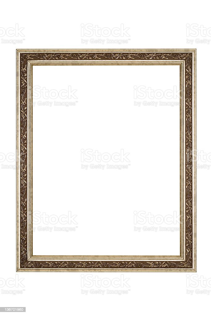 Picture Frame in Silver Floral Pattern, White Isolated royalty-free stock photo