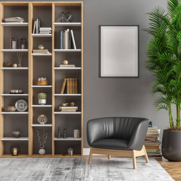fotolijst, bibliotheek en planten in de woonkamer - boekenplank stockfoto's en -beelden