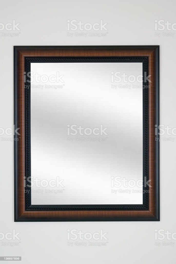 Picture Frame Mirror in Tiger Maple, Modern, White Isolated Studio stock photo