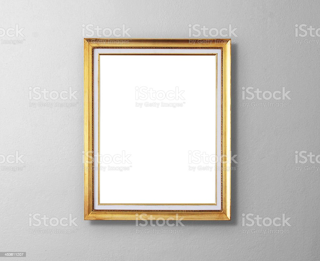 picture frame on wood wall stock photo
