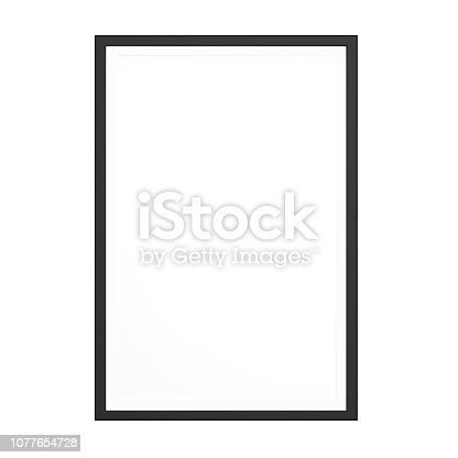Black picture frame on white background