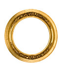 Picture frame in round cirlce of gold with fancy and elegant antique carving, white isolated.