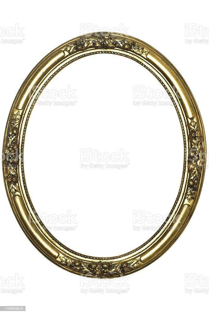 Picture Frame Round Gold Antique, White Isolated stock photo